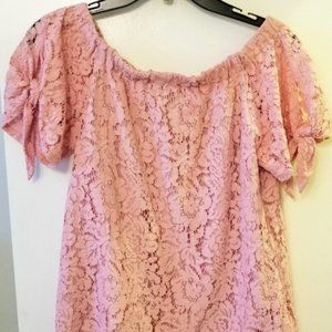 Mischevious summer pink lace scallop blouse